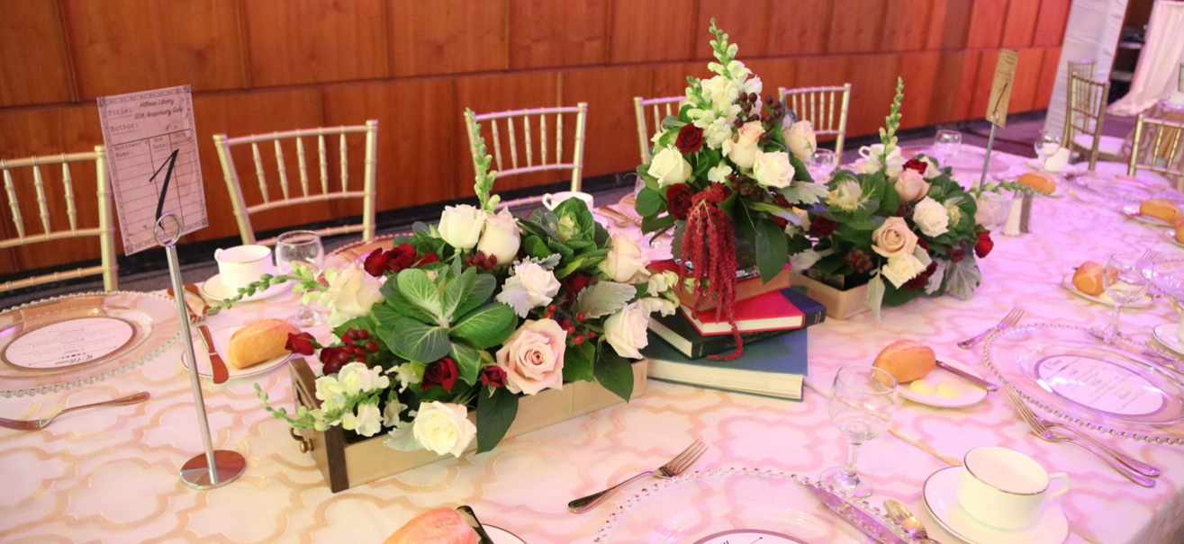 Photo of table setting at the Hillman Library 50th Anniversary Party.
